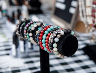 Bracelets displayed at an artisan vendors' stand at the Kitchener Market.
