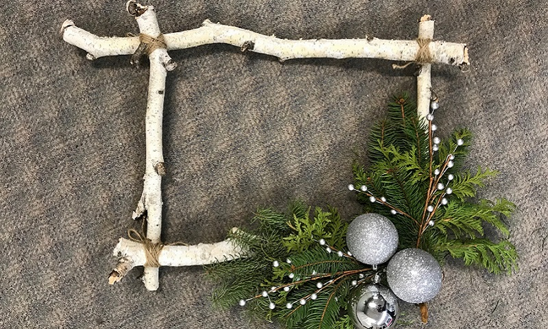 Rectangular wreath made with birch tree branches