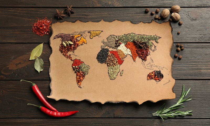 a world map with spices representing each country or continent